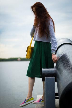 forest green idaLaida skirt - periwinkle asos jumper