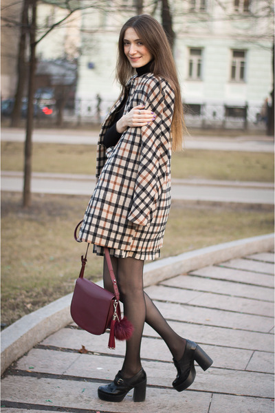 dark brown idaLaida coat - crimson Mango bag - burnt orange idaLaida skirt