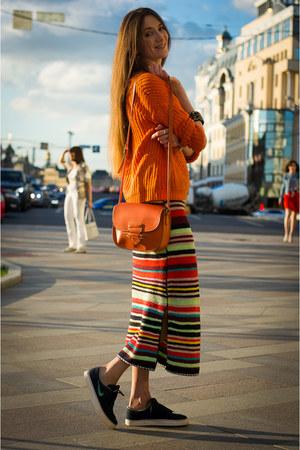 red Zara dress - tawny Mango sweater