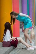 turquoise blue idaLaida dress - crimson Mango bag - neutral H&M bag