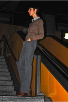 bronze Massimo Dutti jumper - tawny H&M boots - nude Maje shirt
