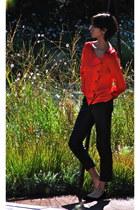 red ba&sh blouse - black TheySkens Theory pants - black TheySkens Theory flats