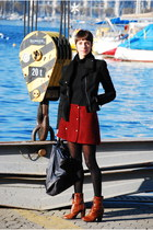 ruby red vintage skirt - tawny H&M boots - black Isabel Marant jacket