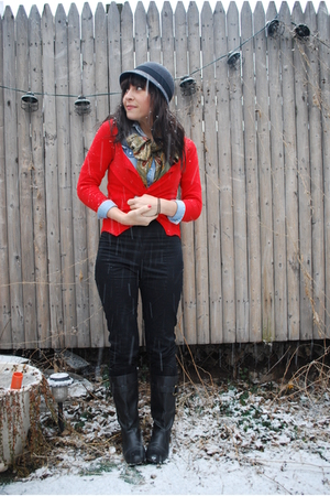 black H&M pants - red Zara cardigan - blue thrifted shirt - gray Target hat