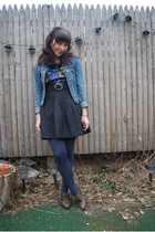 gray seychelles shirt - black kensie skirt - blue Mac & Jac top