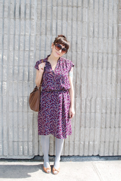 purple vintage dress - gray modcloth socks - beige aerosoles shoes - brown Targe