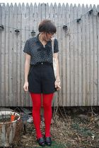 black Esprit shorts - black thrifted blouse - red HUE tights - black vintage sho