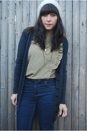 blue Cheap Monday jeans - blue f21 cardigan - brown Dexter boots - beige vintage