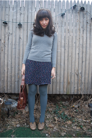 gray Zara sweater - blue vintage dress - beige seychelles shoes - green UO tight