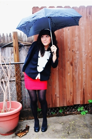thrifted skirt - mayle jacket - H &M tights - le chateau shoes