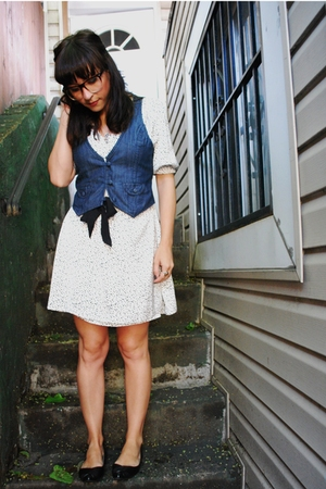 supre dress - Forever21 vest - lechateau shoes - UO glasses
