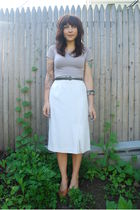 white Salvation Army skirt - purple Monks Vintage sweater - beige Value Village 