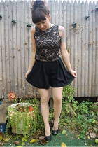 black vintage lace top - black emporio armani shorts