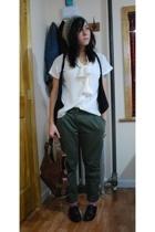 UO pants - thrifted blouse - hat - Paris - Mat & Nat purse