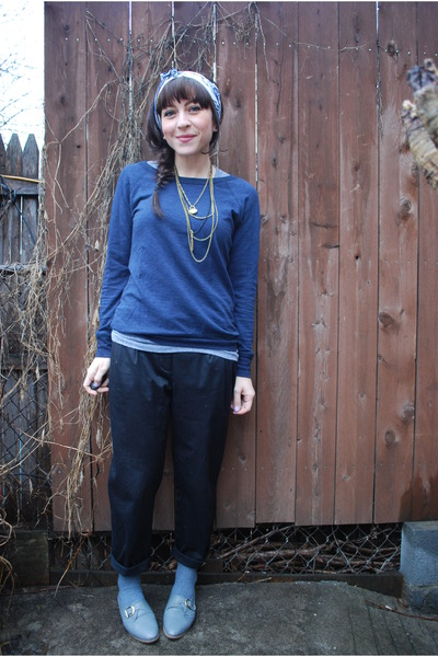 Black H&M Pants, Blue Forever21 Sweaters, Gray Jeffrey Campbell ...