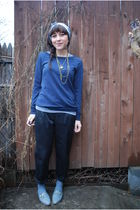 black H&M pants - blue Forever21 sweater - gray Jeffrey Campbell shoes - blue vi