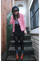 black H&M skirt - brown Jeffrey Campbell shoes - red vintage shirt