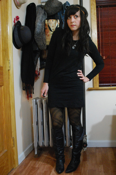 black vintage boots - black kensie dress - black f21 tights - yellow HUE tights