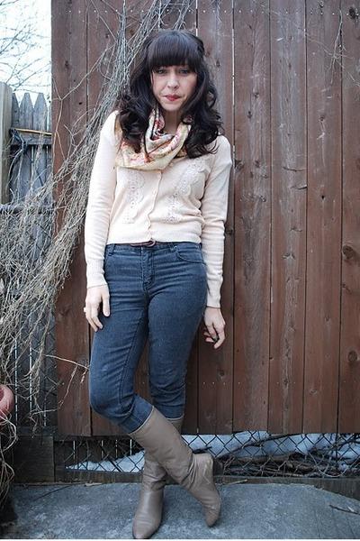 pink f21 cardigan - beige vintage scarf - gray Cheap Monday jeans - beige vintag