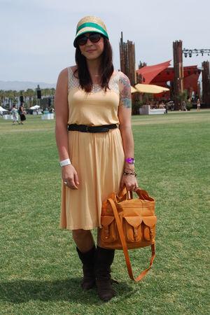 beige vintage dress - brown Aldo boots - beige Euginia Kim hat