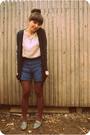 White-modcloth-dress-blue-kensiegirl-shorts-gray-jeffrey-campbell-shoes