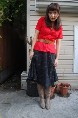 Value Village blouse - AG belt -  skirt -  boots