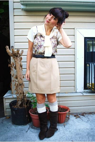 thrifted skirt - thrifted blouse - forever 21 top - Target socks - Aldo boots -