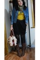 kensie skirt - Forever21 shirt - vintage belt - vintage scarf - 8020 boots - cyn