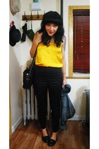 yellow H&M top - black vintage coach purse - black H&M pants