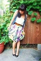 Mac & Jac skirt - AG belt - modcloth top - forever 21 vest