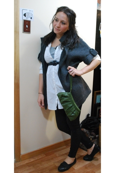 H&M blouse - vintage belt - kensie - thrifted purse