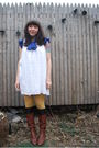 White-mac-jac-dress-gold-aa-tights-blue-thrifted-blouse-brown-8020-boots