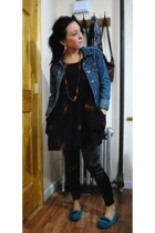 UO dress - kensiegirl leggings - Aldo shoes - UO earrings - Request jacket