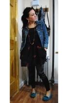 UO dress - kensiegirl leggings - Aldo shoes - UO earrings - Request jacket