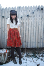 red vintage skirt - white vintage blouse - gray seychelles shoes - brown H&M tig