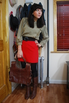 vintage skirt - vintage blouse - vintage belt - 8020 boots - Matt & Nat purse