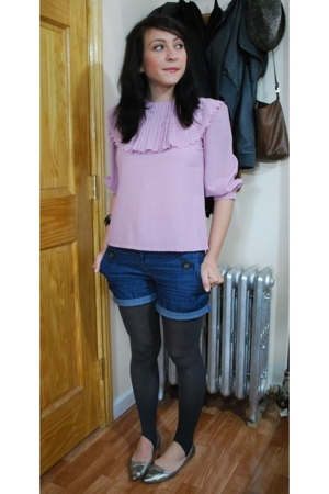 thrifted blouse - kensiegirl shorts - f21 tights - Zara