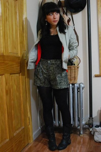 thrifted jacket - barbados shorts - Zara - Mac & Jac t-shirt - Blowfish boots
