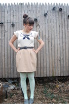 white modcloth t-shirt - beige vintage skirt - green We Love Colors tights - gra