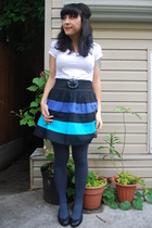 Zara t-shirt - kensiegirl skirt - vintage belt - HUE tights - Arturo Chiang shoe