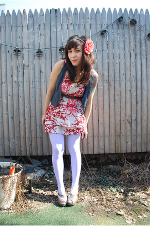 pink modcloth dress - blue f21 vest - purple welovecolors tights - gray seychell