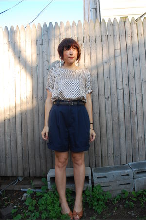 blue thrifted shorts - white worn as top modcloth dress