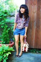 Aritzia shorts - clothing swap shirt - Payless shoes - cynthia rowley purse