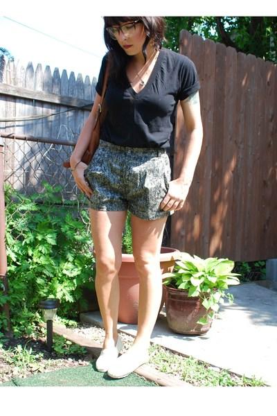 black deep v American Apparel t-shirt - beige TOMS shoes - brown UO glasses