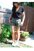 black deep v American Apparel t-shirt - beige TOMS shoes - brown UO glasses