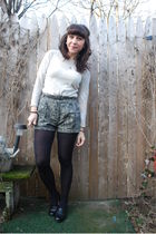 white vintage top - beige barbados shorts - black vintage shoes