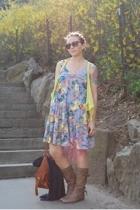 kensie vest - UO dress - Steve Madden boots