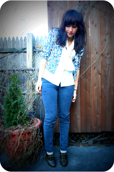 gray Cheap Monday jeans - gray seychelles shoes - beige UO cardigan - white vint