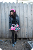 pink headband - black Libertine for Target top - black UO skirt - gray H&M jacke