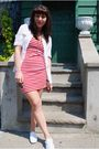 Red-h-m-dress-white-keds-shoes-white-kensiegirl-shirt